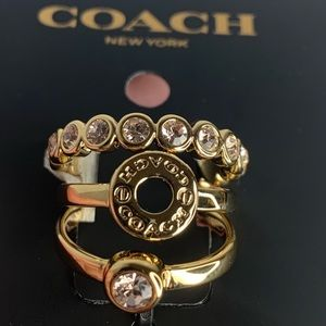 Coach Stackable 3 Gold Rings NWT 🎄 Gift Size 8
